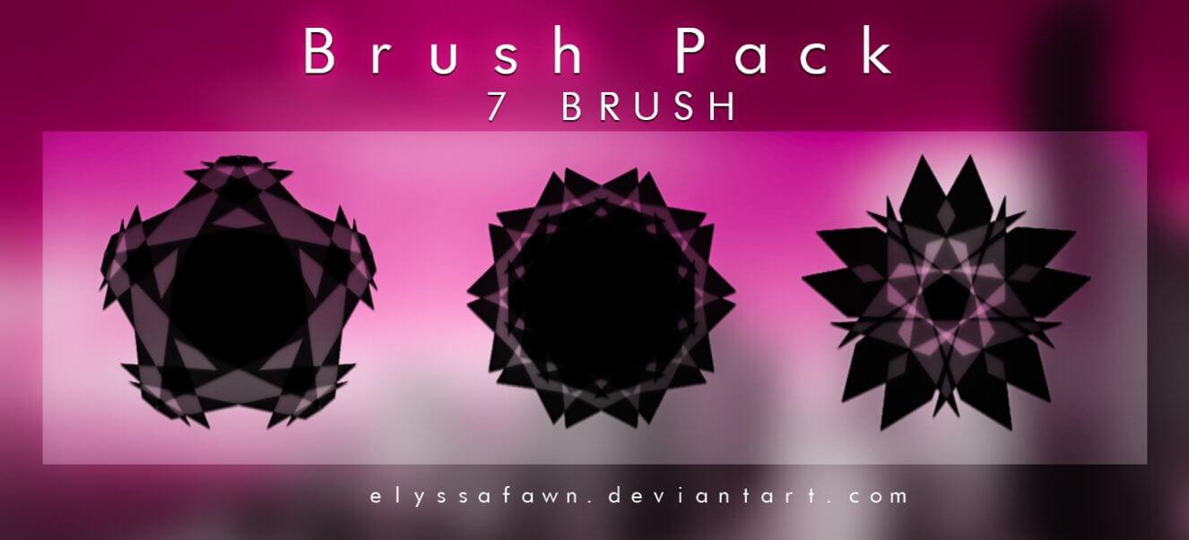 7种组合式多边形、花式菱形图案Photoshop笔刷素材下载