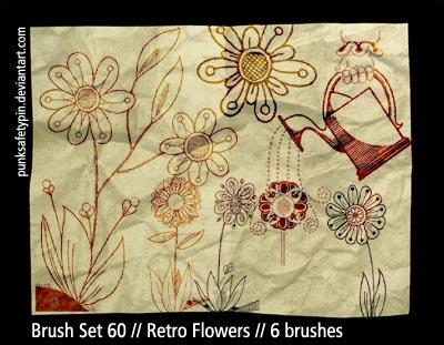 手绘鲜花图案、花朵印花花纹PS笔刷下载