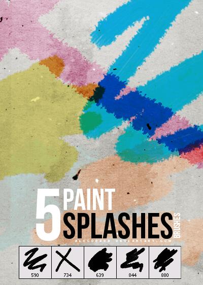 5种水彩画笔涂痕效果PS笔刷下载