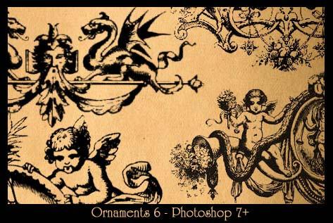 西欧手绘神话系列图案PS笔刷素材下载 西欧神话笔刷  adornment brushes