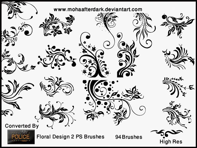 漂亮的植物艺术花纹图案PS印花笔刷素材下载 植物花纹笔刷 印花笔刷  flowers brushes