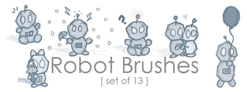 可爱涂鸦小机器人PS笔刷素材下载