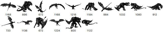 西方凶残的恶魔龙、魔龙、恶龙、飞龙、翼龙PS笔刷素材下载