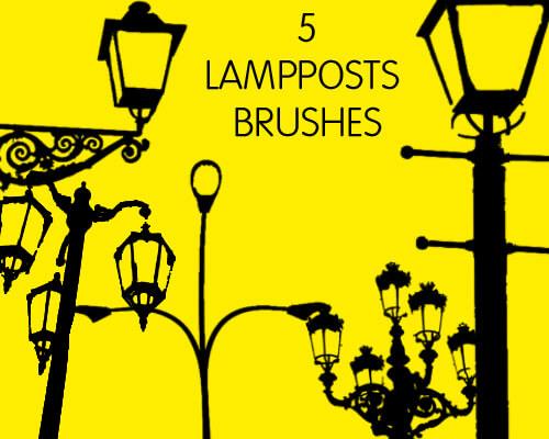 欧式路灯效果、街边路灯PS笔刷素材免费下载