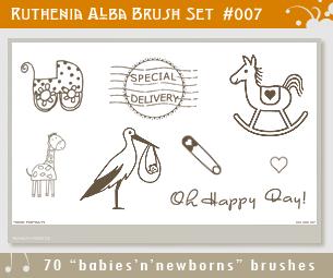 可爱童趣婴儿车、邮戳、木马、长颈鹿等涂鸦PS照片美化笔刷