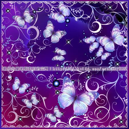漂亮的蝴蝶艺术花纹图案PS笔刷素材下载