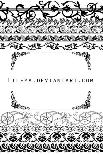 漂亮的欧式花纹边框图案PS笔刷素材下载 花纹边框笔刷 印花图案笔刷  flowers brushes