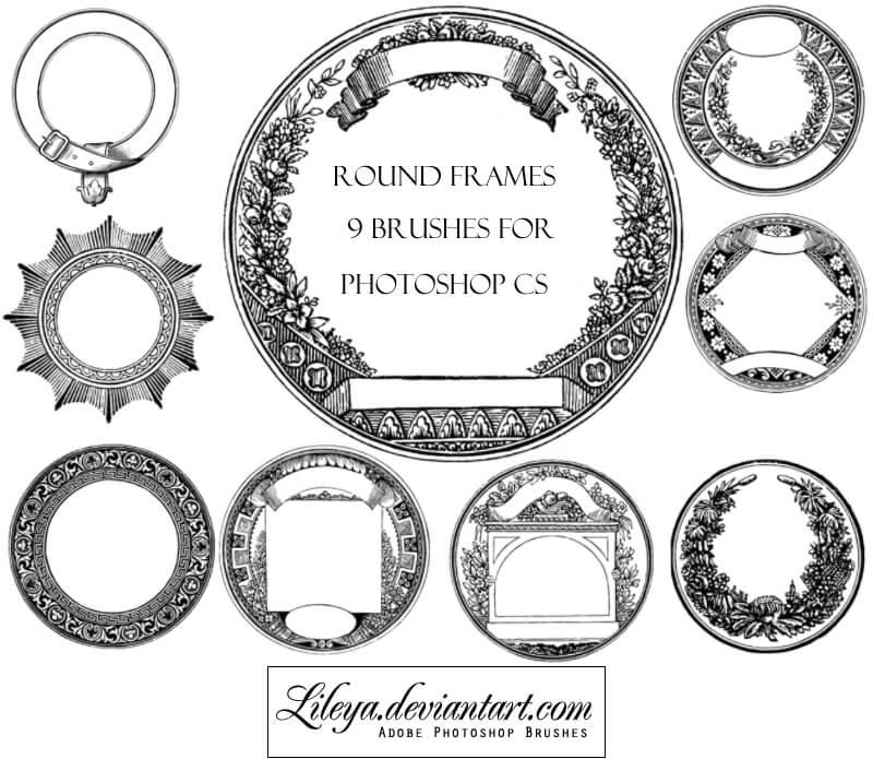 9种盘式花纹装饰PS笔刷素材下载