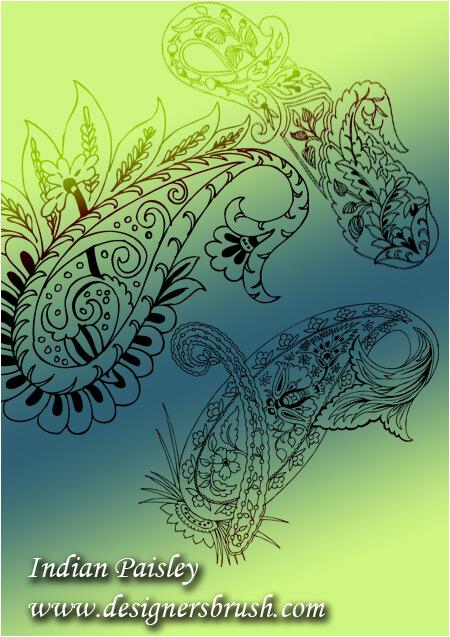 漂亮的中东伊斯兰式花纹印花图案PS笔刷素材下载 穆斯林花纹笔刷 伊斯兰花纹笔刷  flowers brushes