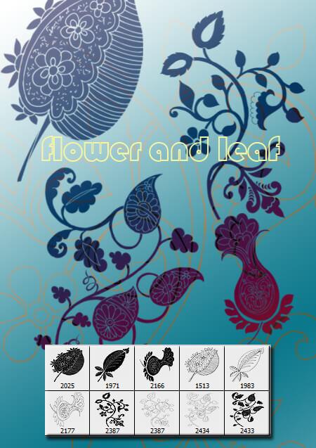 漂亮的中东伊斯兰教式经典印花PS笔刷素材 植物花纹笔刷 印花笔刷 伊斯兰花纹笔刷  flowers brushes