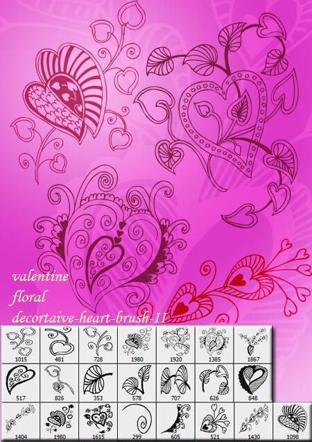 漂亮优美的手绘植物与爱心花纹图案PS笔刷素材下载