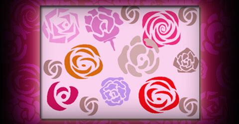 漂亮的玫瑰花花纹、鲜花花朵印花图案Photoshop笔刷素材