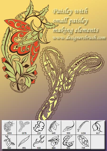 漂亮的手绘植物印花图案PS穆斯林花纹笔刷
