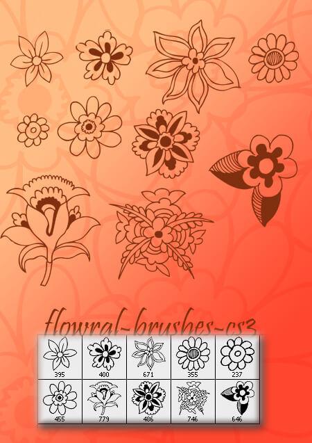 10种手绘鲜花花朵盛开的图案花纹PS笔刷素材
