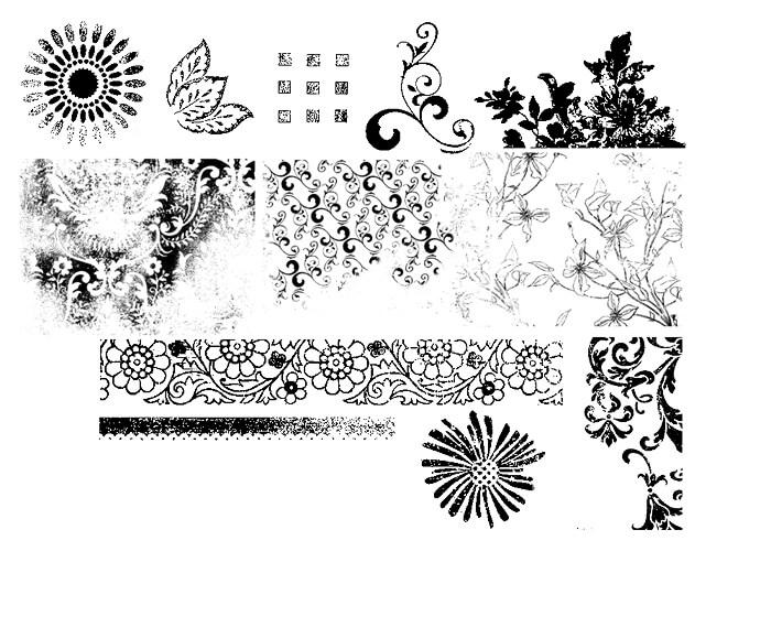 复古版刻式印花图案Photoshop笔刷素材下载