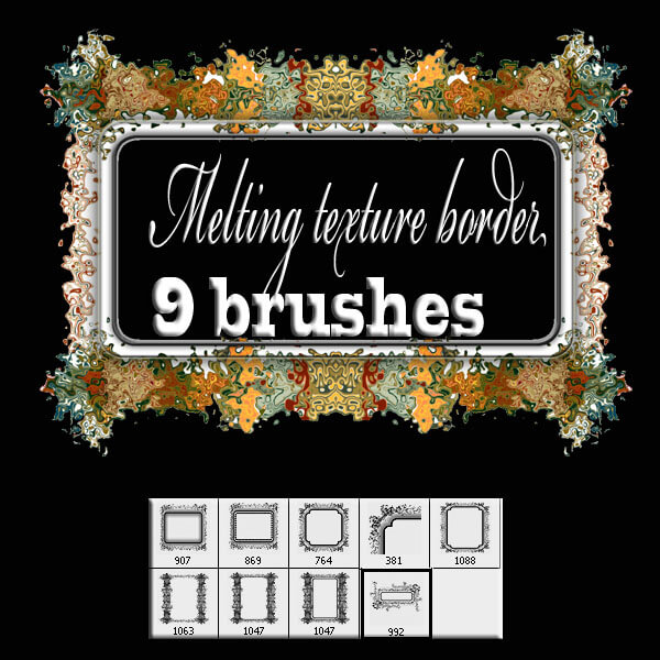 9种艺术家式画框、相框、边框图案装饰PS笔刷素材下载