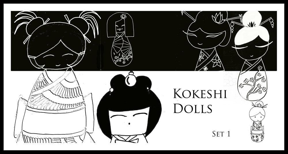 手绘日本玩玩造型图案、可爱的和服娃娃PS笔刷下载