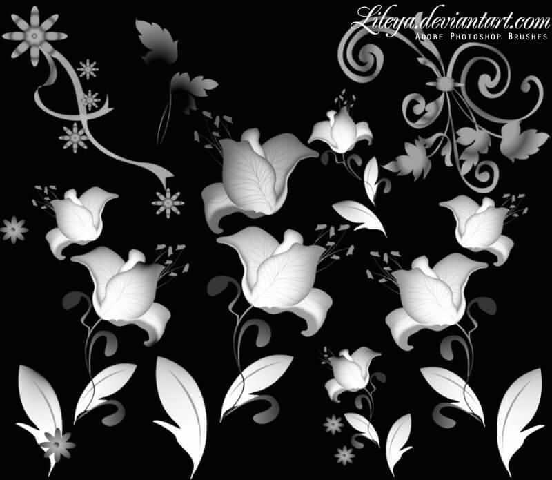 盛开的鲜花花朵图案PS鲜花装饰笔刷