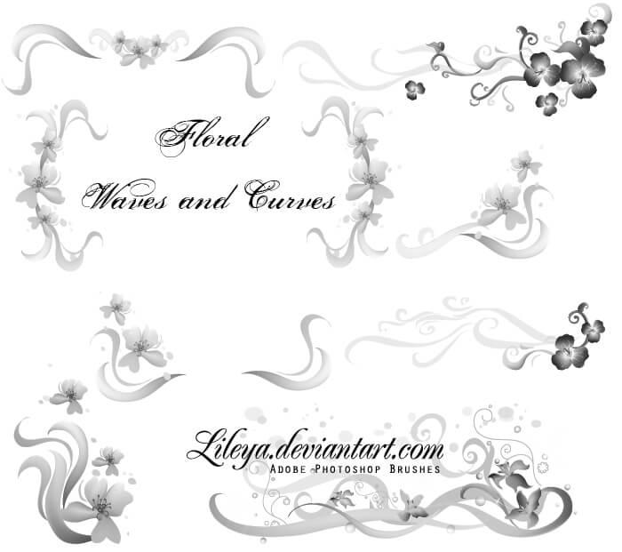 梦幻鲜花花纹图案Photoshop植物花朵笔刷