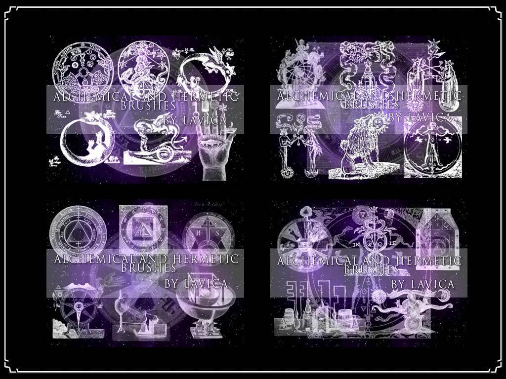 魔法炼金术士元素图案Photoshop笔刷素材下载