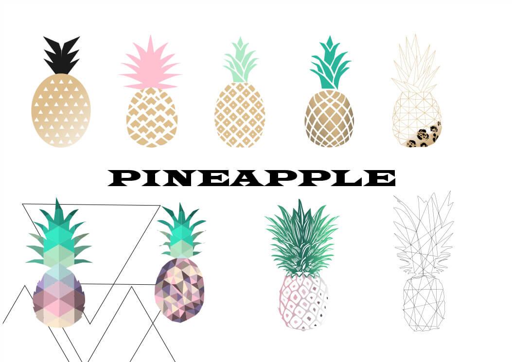 时尚扁平化魅力菠萝造型Photoshop笔刷素材下载