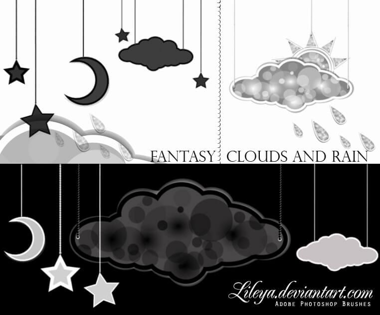 可爱卡哇伊星星、月亮、云朵、太阳、乌云等挂饰造型PS笔刷素材