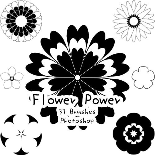漂亮的几何画图图形PS笔刷素材下载 花纹笔刷 几何花纹笔刷  flowers brushes