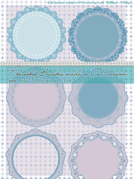漂亮的圆盘式蕾丝花边图案、杯垫PS笔刷素材