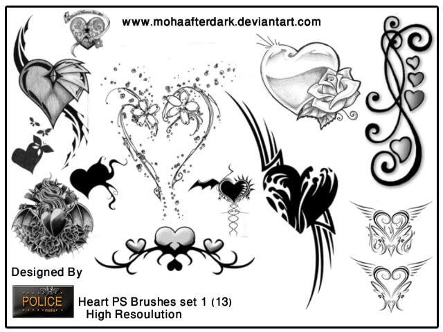 非主流爱心艺术、欧式吸血鬼情人节心形元素PS笔刷素材下载