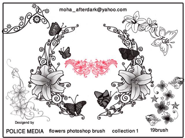 漂亮的鲜花装饰、印花图案PS笔刷素材下载