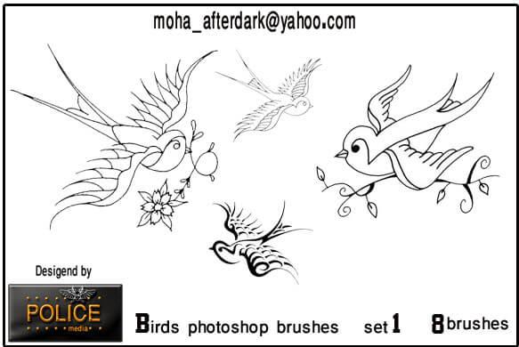 可爱线框式小燕子图像PS笔刷素材下载