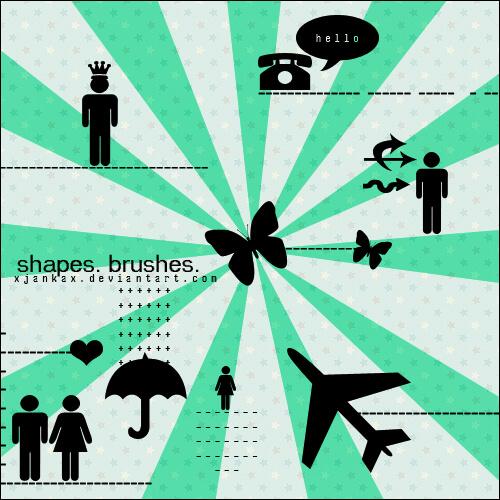 矢量式人物、电话、箭头、蝴蝶、雨伞、飞机等图形Photoshop笔刷素材下载