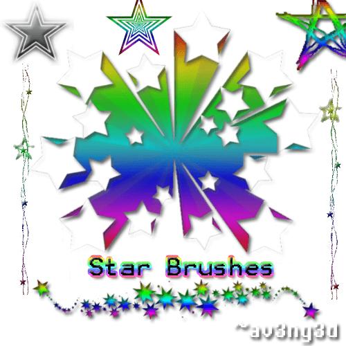 闪烁的星星、五角星图案Photoshop星星符号笔刷