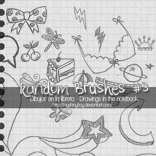 可爱童趣卡通图案PS幼稚的涂鸦笔刷素材