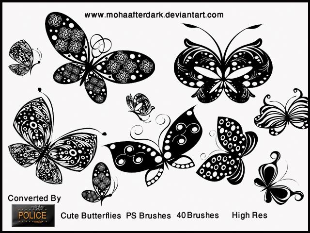 漂亮的剪纸式蝴蝶印花、花纹式彩蝶图案PS笔刷素材下载