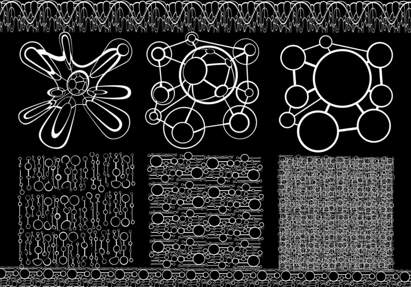 抽象扭曲的圆圈组合图案Photoshop笔刷素材下载
