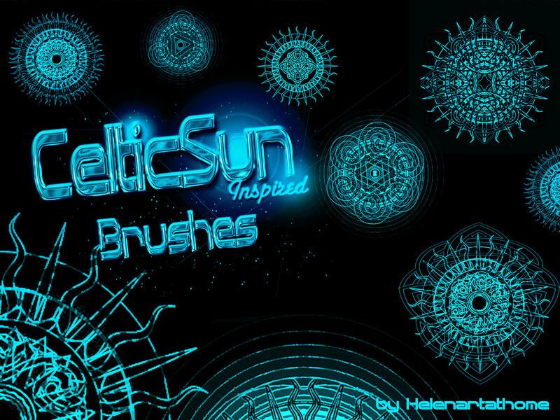 奇异太阳花纹图案、神秘宗教符号、魔法文明印记PS笔刷素材