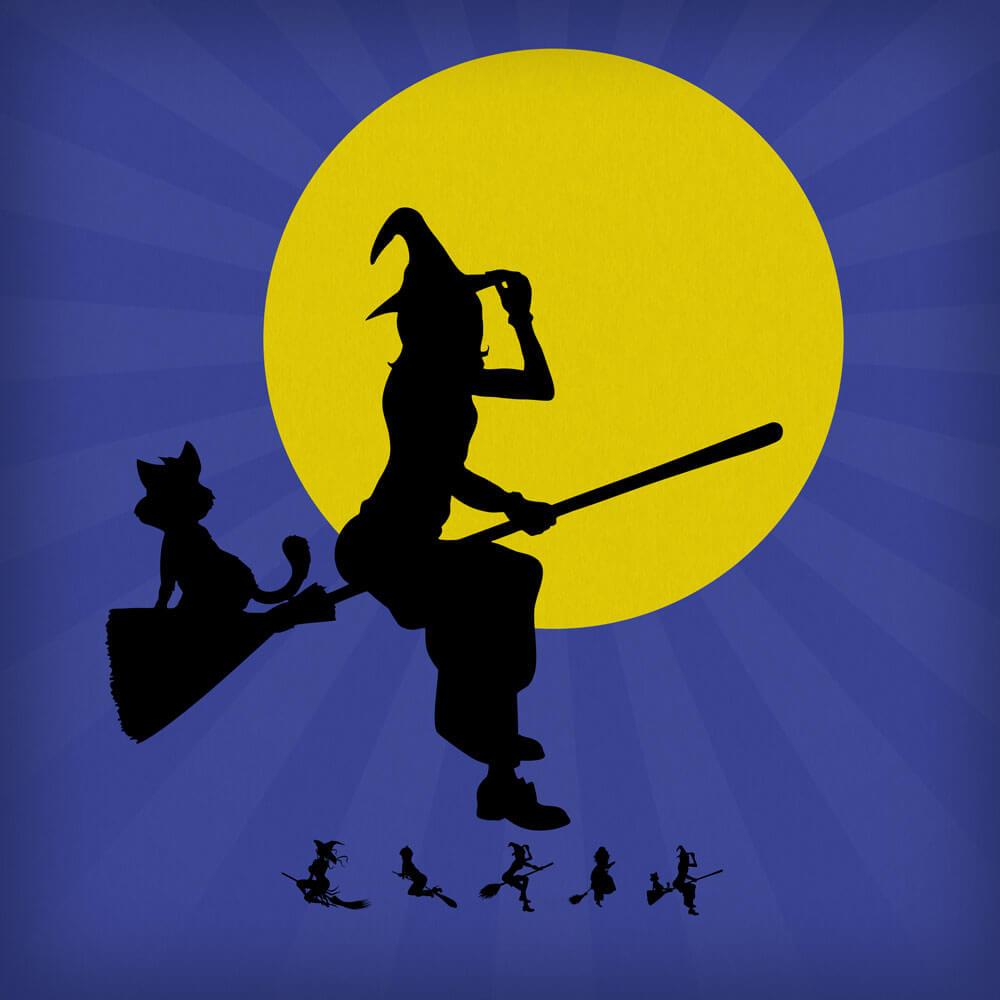 可爱的万圣节巫女、女巫卡通图形PS笔刷素材下载
