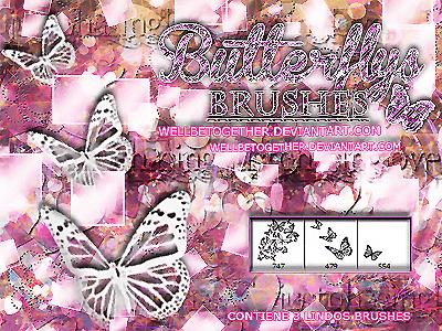 蝴蝶花纹图案、剪纸式蝴蝶图案PS笔刷素材下载
