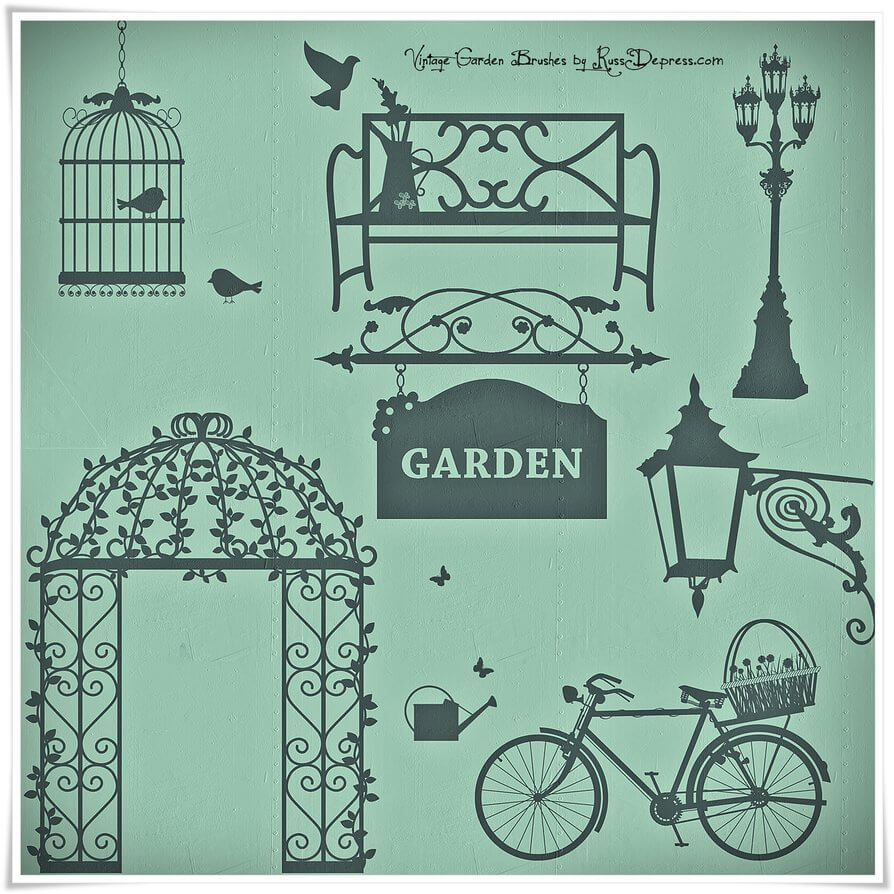 浪漫的复古花园装饰图案PS笔刷素材下载 浪漫花园装饰笔刷 复古图案笔刷  adornment brushes