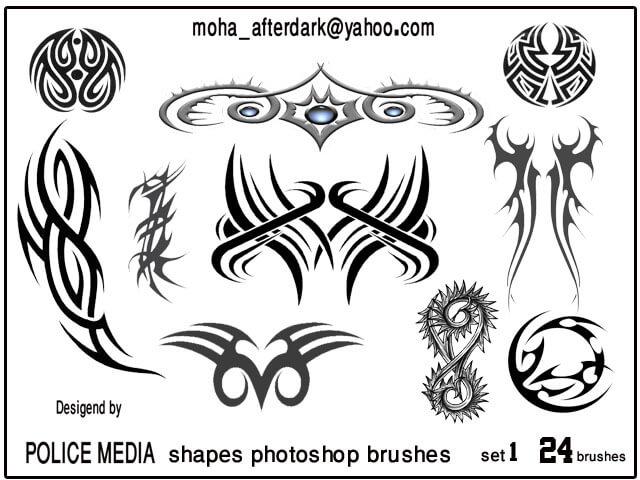 神秘纹身、刺青图案Photoshop纹饰笔刷素材下载