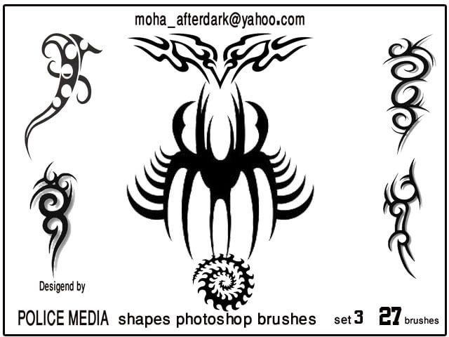 漂亮的花式刺青纹身图案Photoshop笔刷素材下载 纹饰笔刷 纹身笔刷 刺青笔刷  adornment brushes