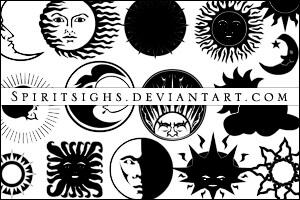 欧式风格的太阳月亮卡通图案PS笔刷素材下载