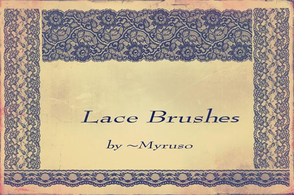 蕾丝花边式花纹边条图案Photoshop笔刷素材下载 蕾丝边笔刷 花边笔刷  adornment brushes