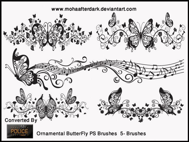 华丽漂亮的音乐蝴蝶艺术花纹图案Photoshop笔刷素材下载
