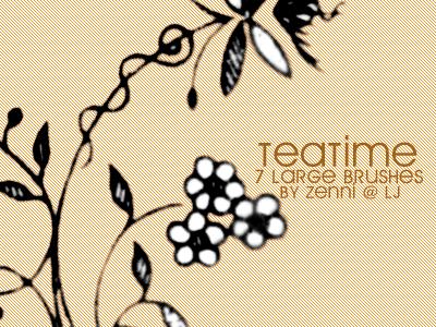 可爱的手绘植物艺术花纹图案PS笔刷素材免费下载