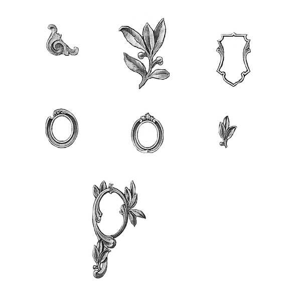 手绘素描式植物花纹图案、徽章、金属花纹装饰PS笔刷素材下载