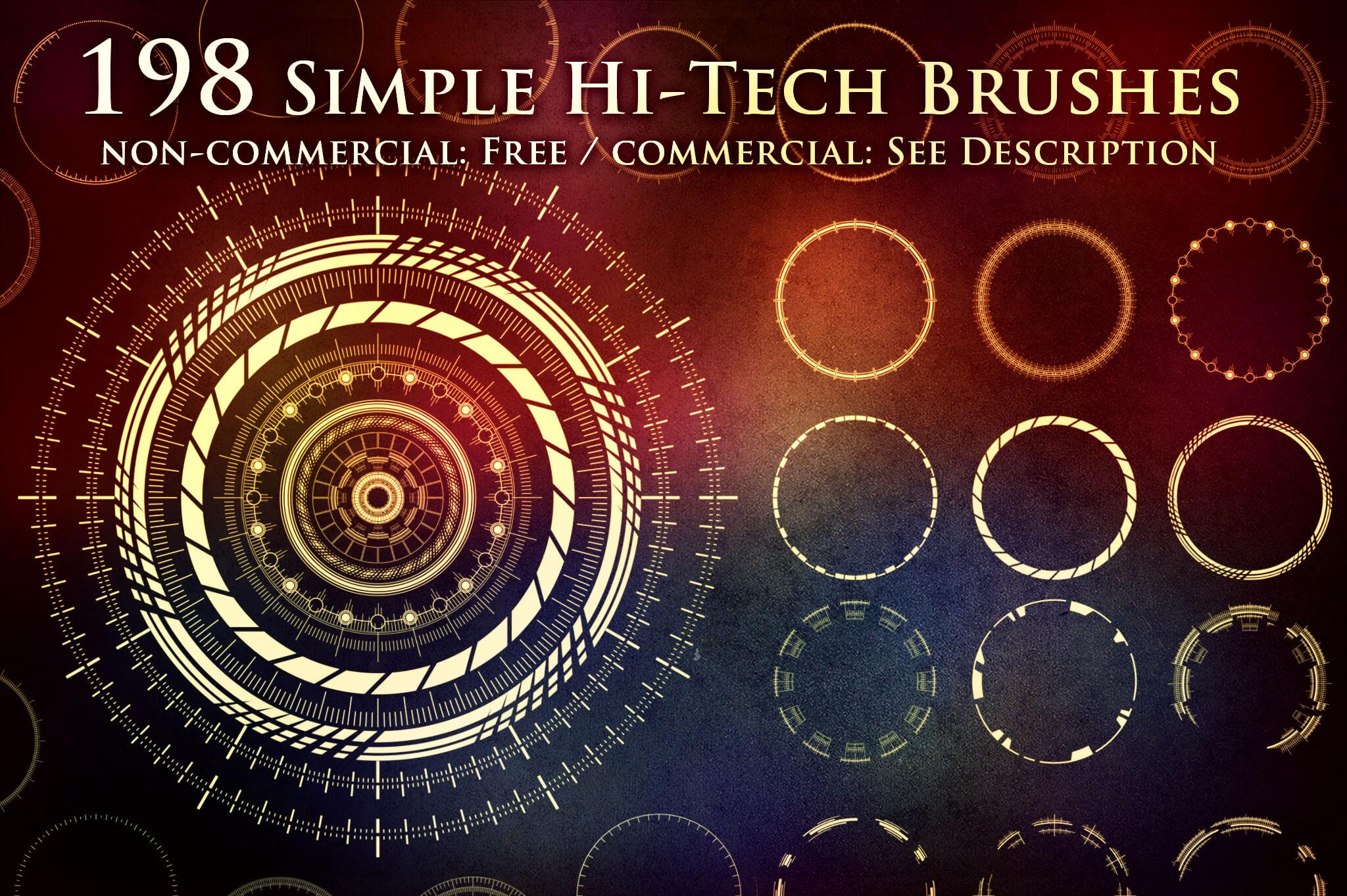 198种酷炫、高科技效果圆圈图形、时尚圆环造型PS笔刷素材下载