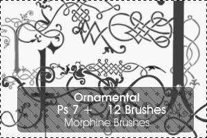 手绘艺术古典花纹图案Photoshop印花笔刷 艺术花纹笔刷 古典花纹笔刷 印花笔刷  flowers brushes