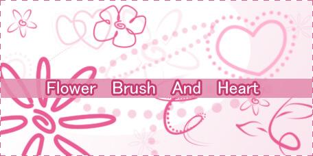 可爱卡哇伊手绘爱心、鲜花花朵图案Photoshop笔刷素材下载 童趣笔刷 爱心笔刷 手绘花纹笔刷 可爱笔刷 卡哇伊笔刷  flowers brushes